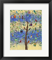 Framed Bird and Bird Houses on Tree