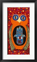 Framed Owl With Evil Eye Hamsa