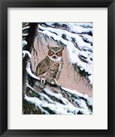 Framed Great Horned Owl In Winter
