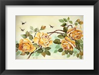 Framed Yellow Roses with Bees