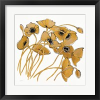 Framed Gold Black Line Poppies II