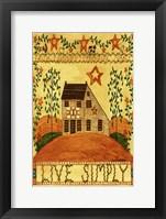 Framed Live Simply Folk Art Garden Flag