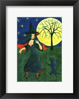 Framed Halloween Witch Black Cat Moon Dance