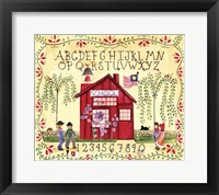 Framed American Schoolhouse ABC 123