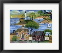 Framed Americana Seaside Lighthouse
