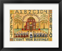 Framed Count Your Blessings School Sampler