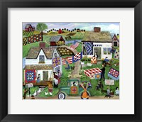 Framed Country Folk Art Quilt Tag Sale