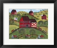 Framed Primitive Americana Red Apple Barn