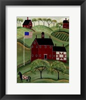 Framed American Red Quilt House