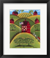Framed Red Apple Quilt Barns