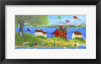 Framed Rubber Dickie Race At Little Red School House Folk Art