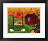 Framed Americana Sunrise Sheep