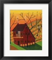 Framed Sunset Pumpkin Saltbox