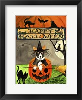 Framed Happy Dog Pumpkin Halloween