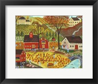 Framed Country Farm Pumpkin Pickers
