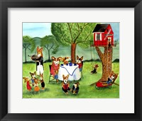 Framed Corgi Dog Tea Party