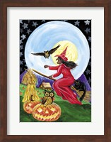 Framed Red Witch Halloween Moon