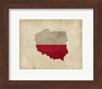 Framed Map with Flag Overlay Poland