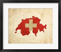 Framed Map with Flag Overlay Switzerland