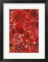 Framed Red Flower Collage