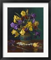 Framed Iris in Cloisonne Vase