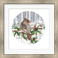 Framed Winter Wonder Female Cardinal