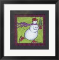 Framed Skating Snowman