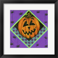 Framed Jack o Lantern with Purple Spiders