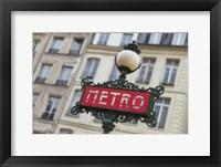 Framed Paris Metro Signpost