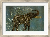 Framed Gold Spraying Elephant