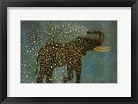 Framed Gold Spraying Elephant