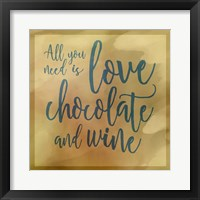 Framed Love, Chocolate And Wine
