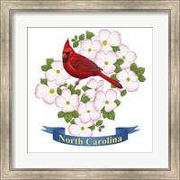 Framed State Bird And Flower NC