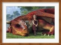 Framed Little Girl And Her Dragon
