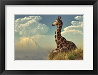 Framed Giraffe And Distant Mountain