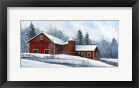 Framed Red Barn Winter
