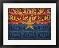 Framed Arizona State Flag License Plates