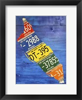 Framed Aruba License Plate Map