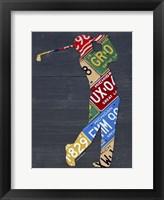 Framed Golfer License Plateart