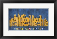 Framed Philly Skyline License Plate Art