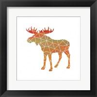 Moose on White Framed Print