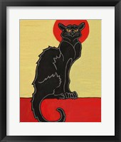 Framed Black Cat Red Moon