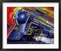 Framed Pop Art Blue Train