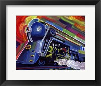 Framed Pop Art Blue Train