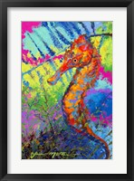 Framed Miniature Majesty of the Ocean - Orange Caribbean Longsnout Seahorse