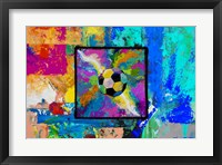 Framed Window into the Soccer Universe - Pink and Cyan Football
