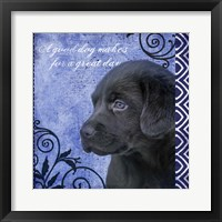 Framed Blue Pup Pattern