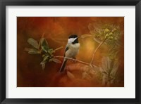 Framed Autumn Day Chickadee