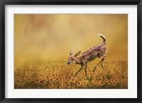 Framed Romping In The Sunflower Field
