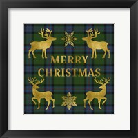 Framed Merry Christmas Plaid - Gold & Green